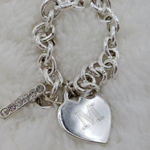 "Personalized ""M"" Silver Heart Charm Bracelet"